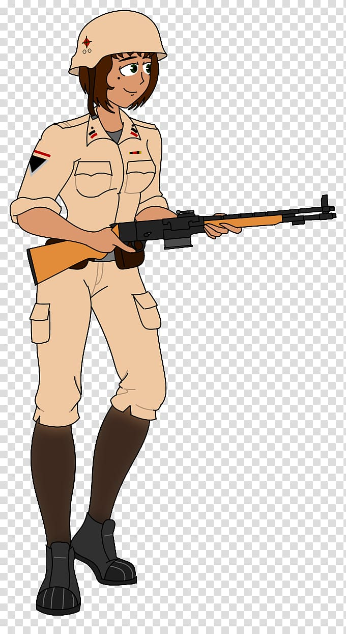 Rifle Marksman Cartoon Character, Female Soldiers.