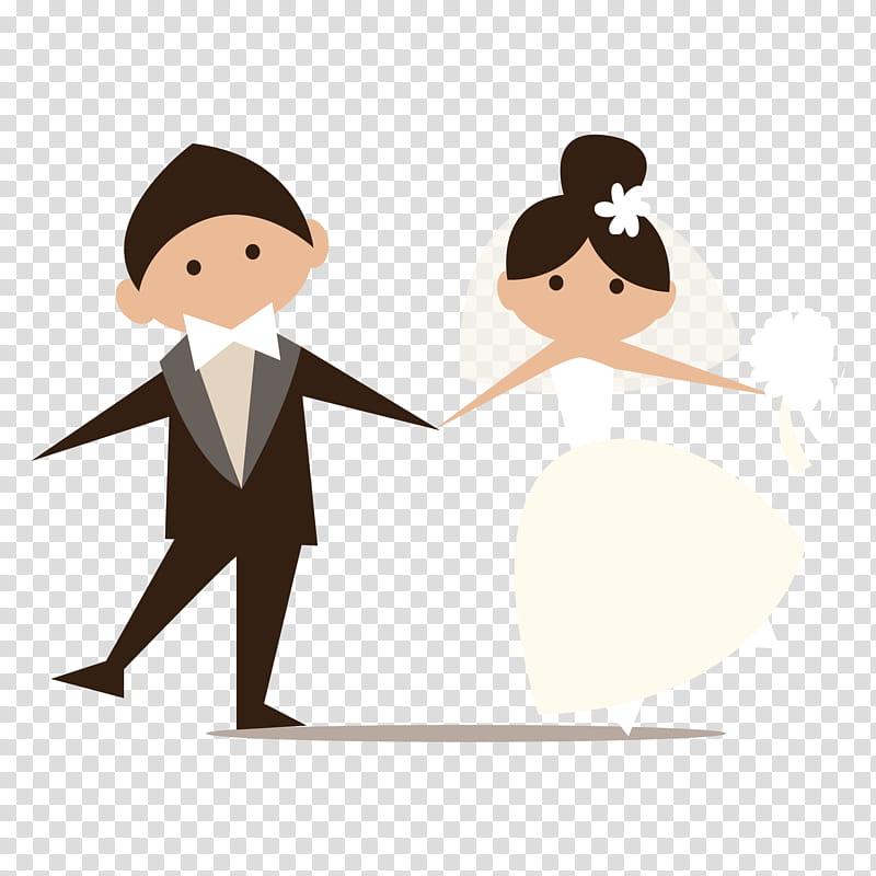 Es de novios, married couple illustration transparent background PNG.