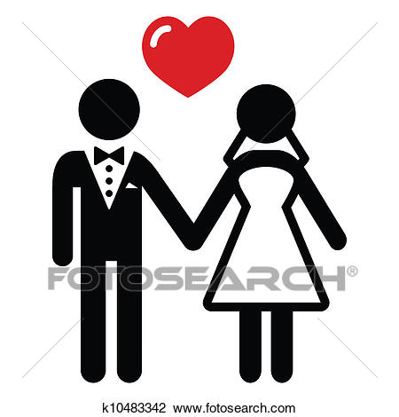 Wedding married couple icon Clipart.