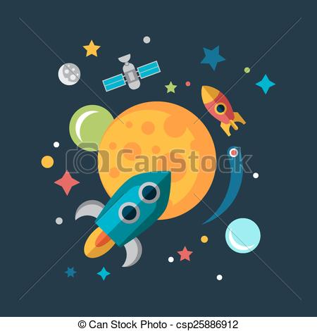 Vector Clip Art of Space Ship Starting Up. Mars, Sun and Earth.