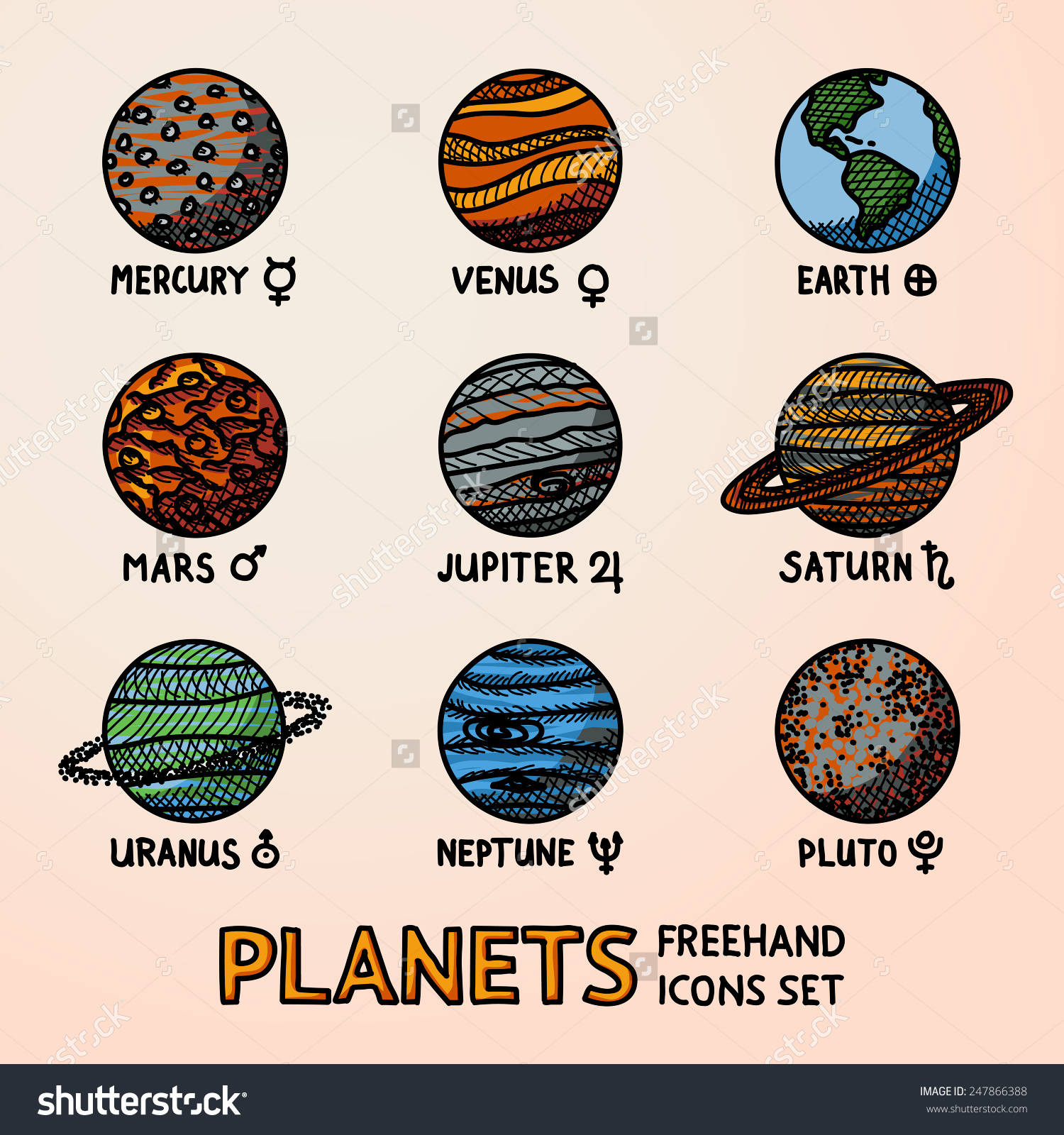 Set Color Hand Drawn Planet Icons Stock Vector 247866388.
