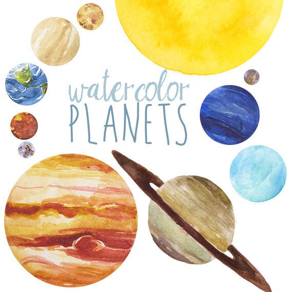 Watercolor Planets Clip Art set, Solar System, Science Clip Art.