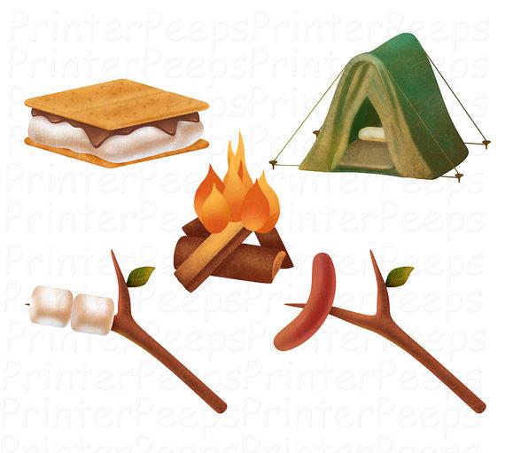 Camping Clipart Scrapbook Pack Digital Scrapbooking Camp Fire Tent.
