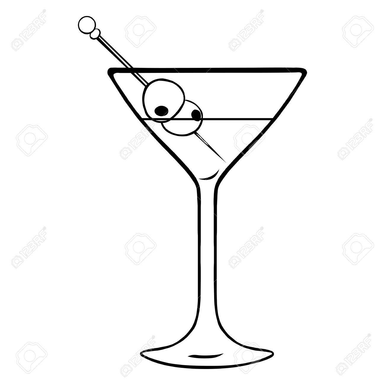 Vector Lineart Martini Glass with Olives on White Background.