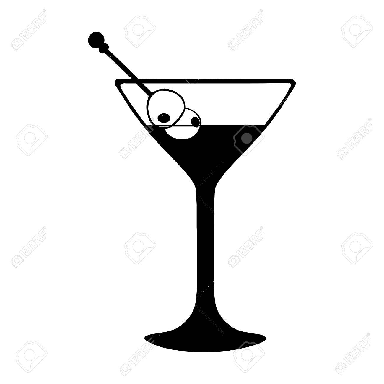 Vector Martini Glass with Olives. Black and White Illustration..