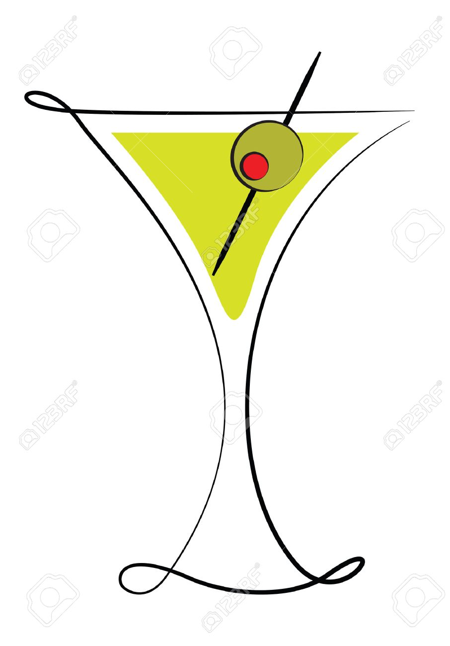 Deco Martini Glass with Olive.