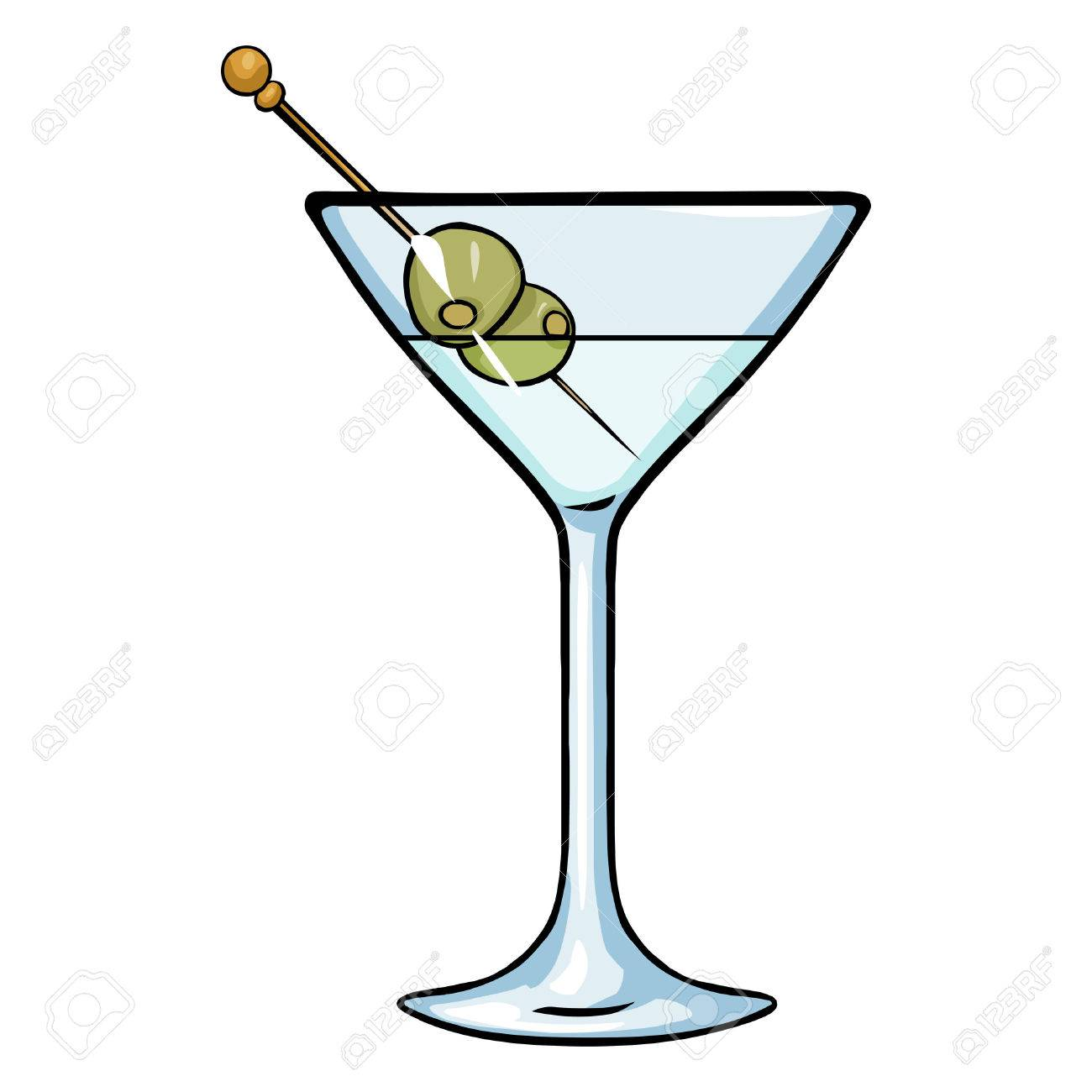 Vector Cartoon Martini Glass with Green Olives.