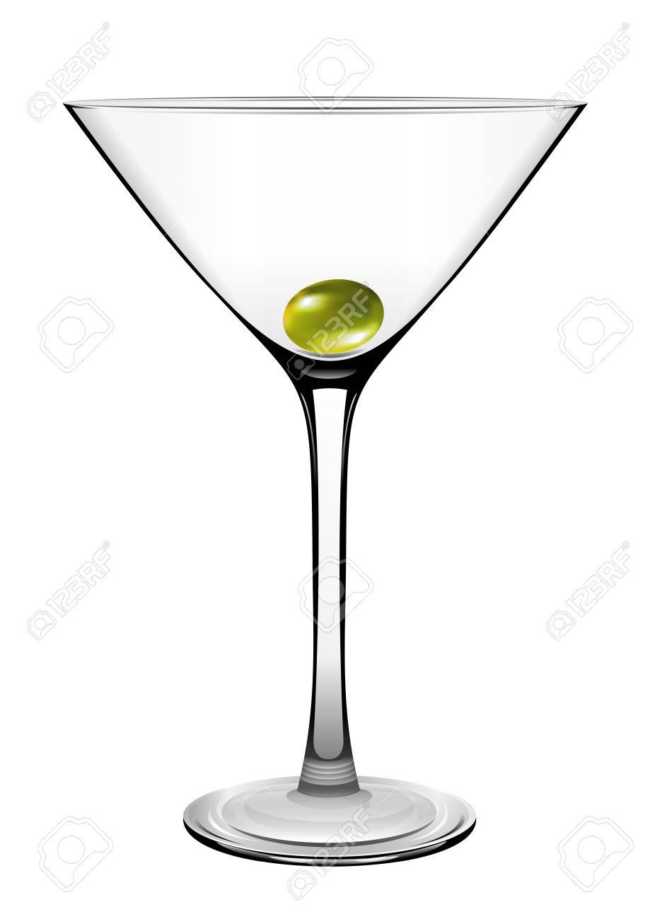 Martini glass with olive. Vector.