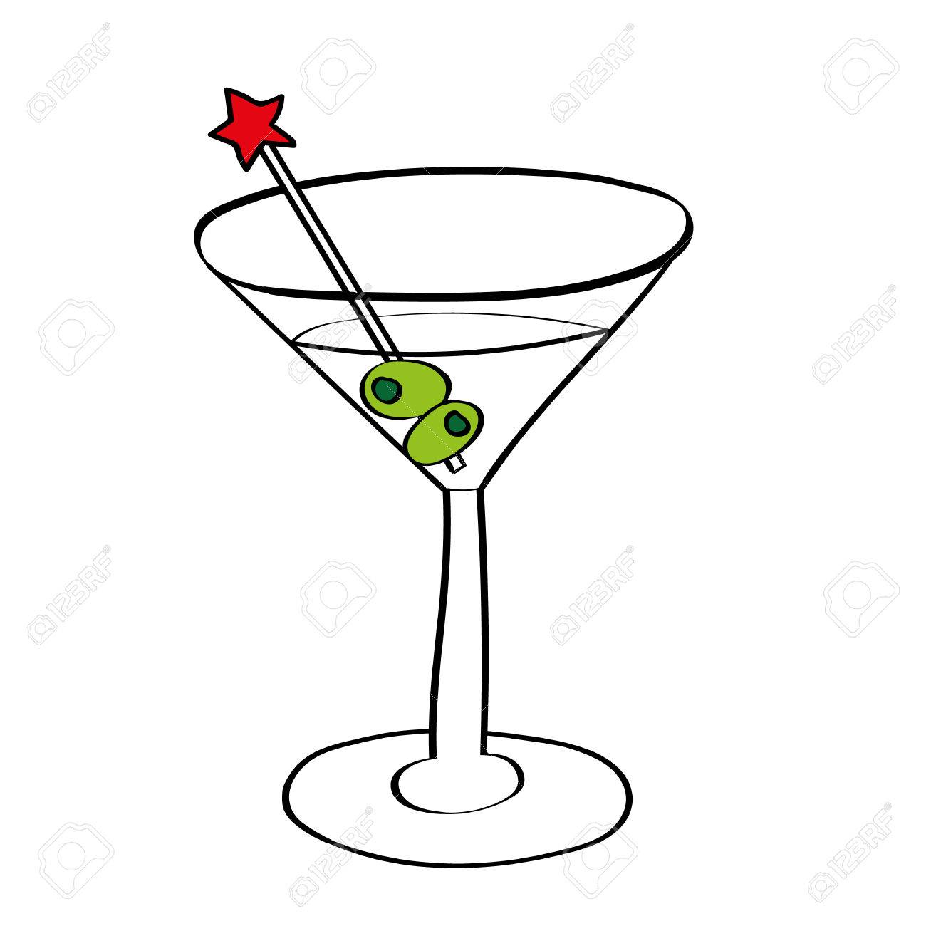 illustration of a vodka martini in a cocktail glass with olives...
