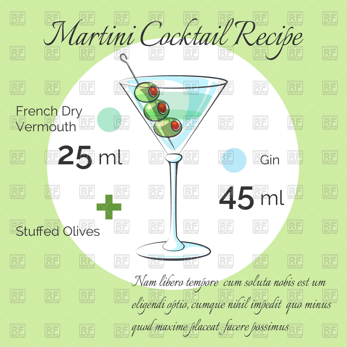 Martini receipt, glass with liquid and olives Stock Vector Image.