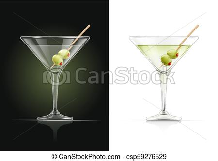 Martini glass. Cocktail with olive..
