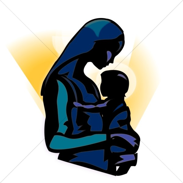 The Madonna Holding Baby Jesus Clipart.