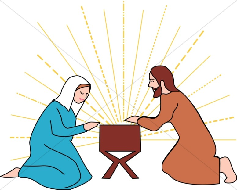 Mary and Joseph Beside the Manger.