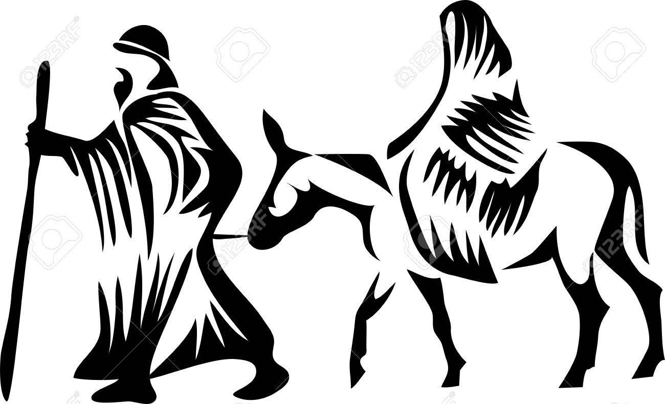 Joseph and Mary on donkey.