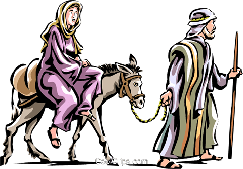 Mary and Joseph headed to Bethlehem Royalty Free Vector Clip Art.