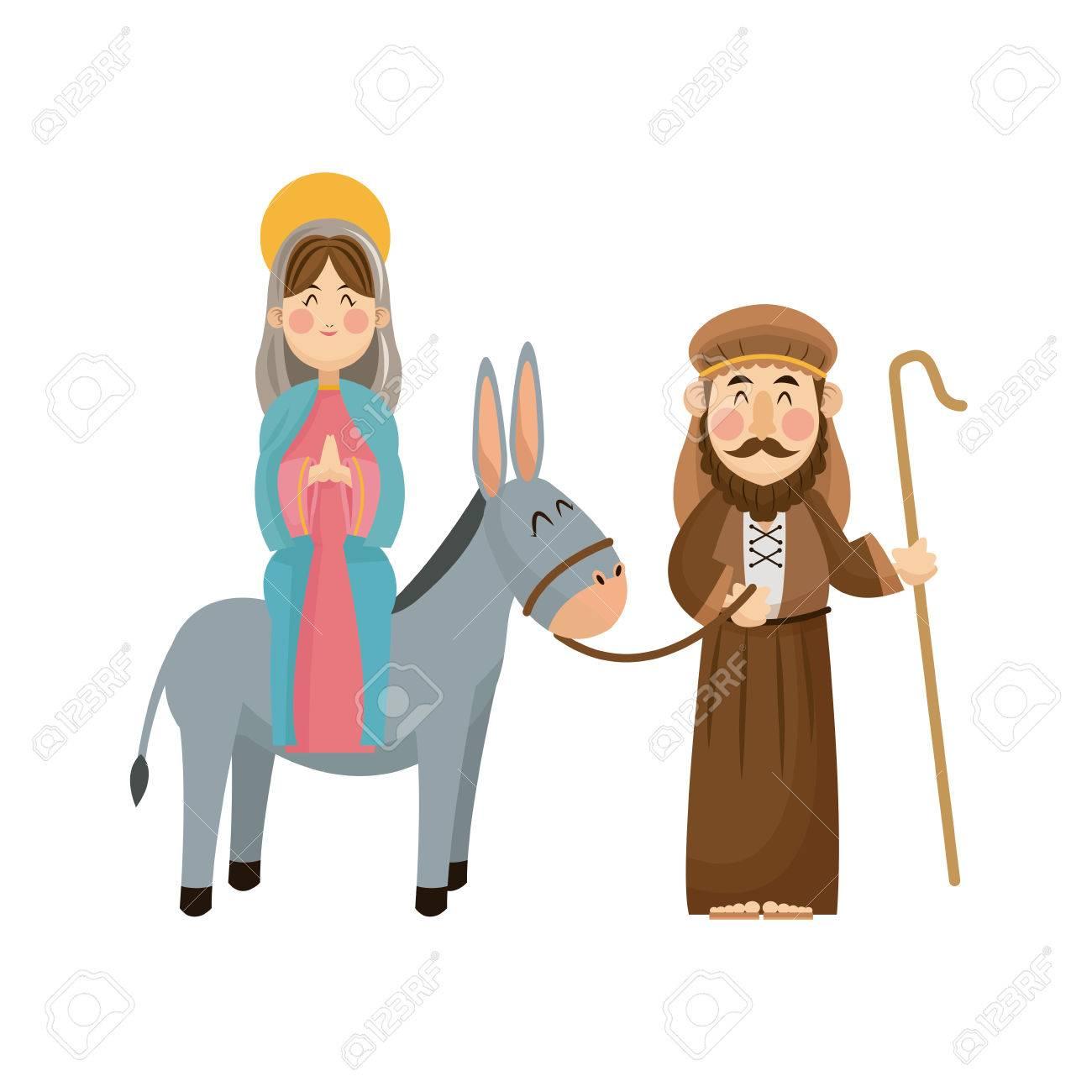 Virgin mary joseph donkey scene nativity vector illlustration.