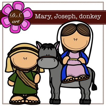 Mary, Joseph, donkey Digital Clipart (color and black&white).