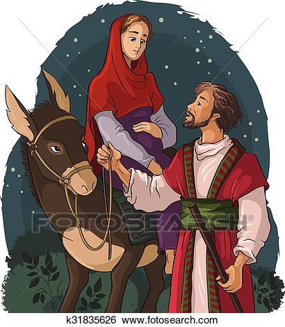 Mary, Joseph, Bethlehem, donkey Clip Art.