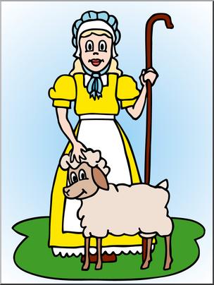 Clip Art: Mary Had A Little Lamb Color I abcteach.com.