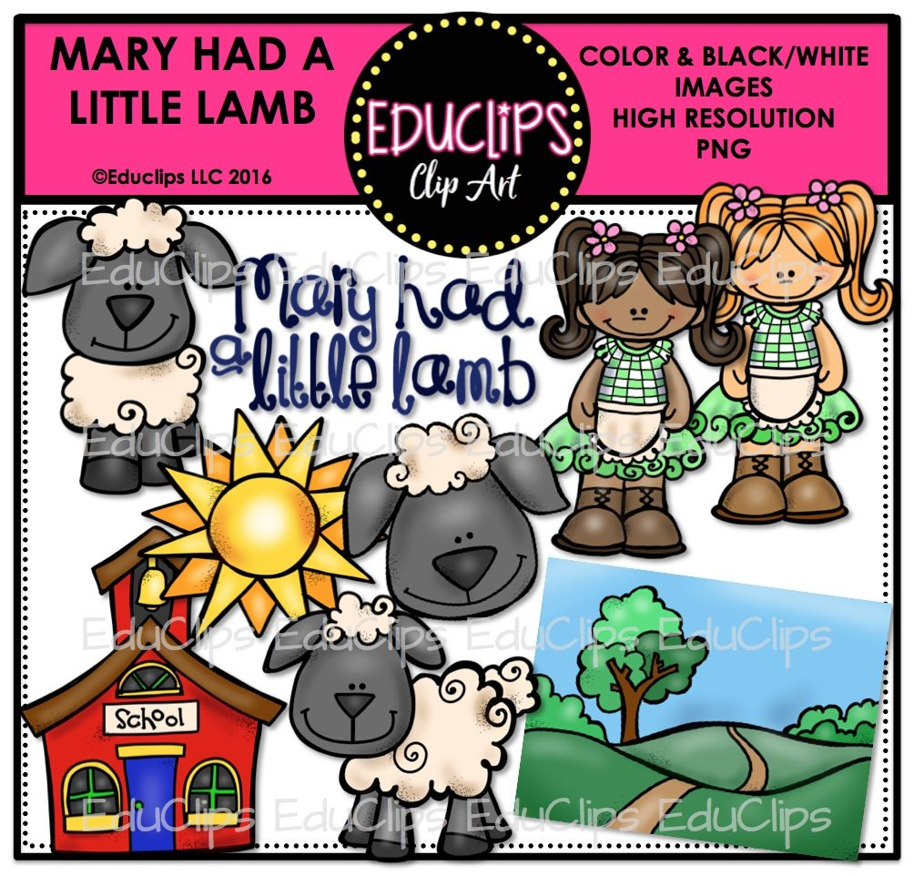 Mary Had A Little Lamb Nursery Rhyme Clip Art Bundle (Color and B&W).