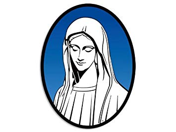 American Vinyl OVAL Mary Mother of God Sticker (christian catholic decal).