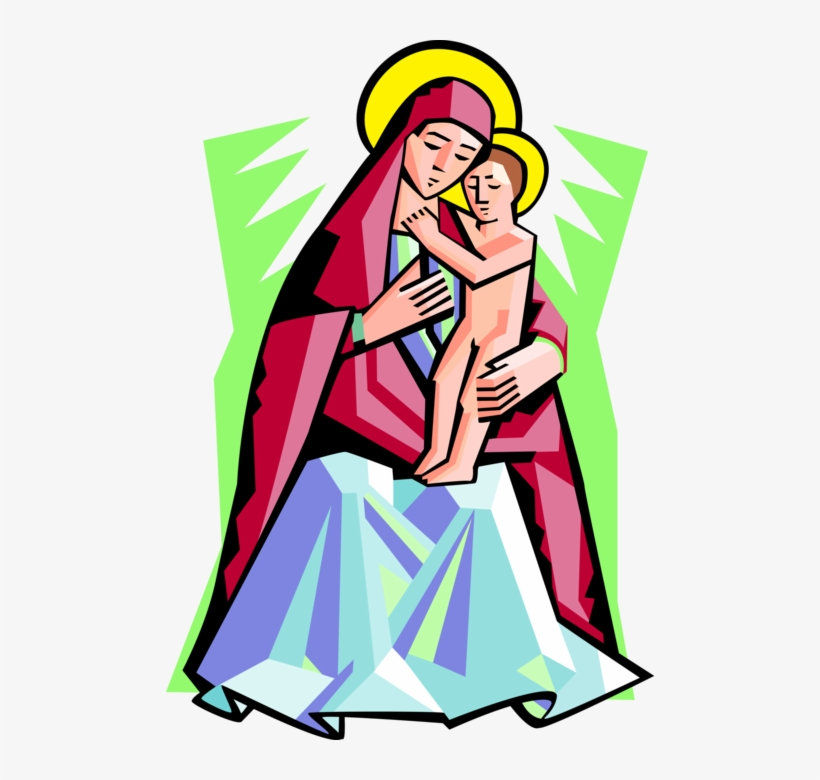 Vector Illustration Of Virgin Mary Mother Of God With.