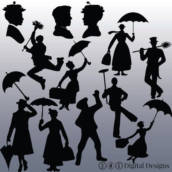 12 Mary Poppins Silhouette Clipart Images by.