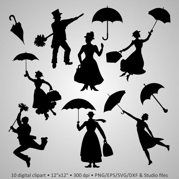 Buy 2 Get 1 Free! Digital Clipart Silhouettes \