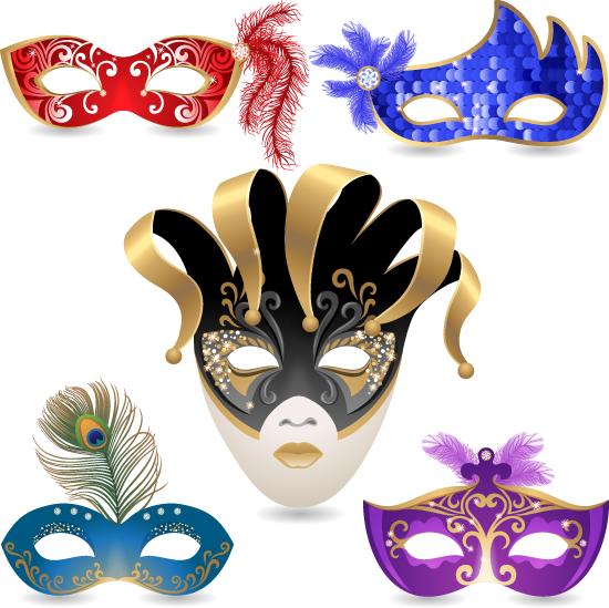 Vector Clipart: Máscaras de carnaval veneciano.