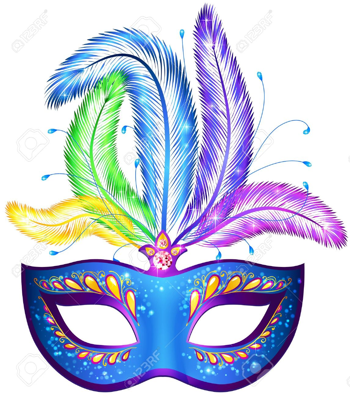 Vector azul adornado carnaval veneciano máscara de plumas.