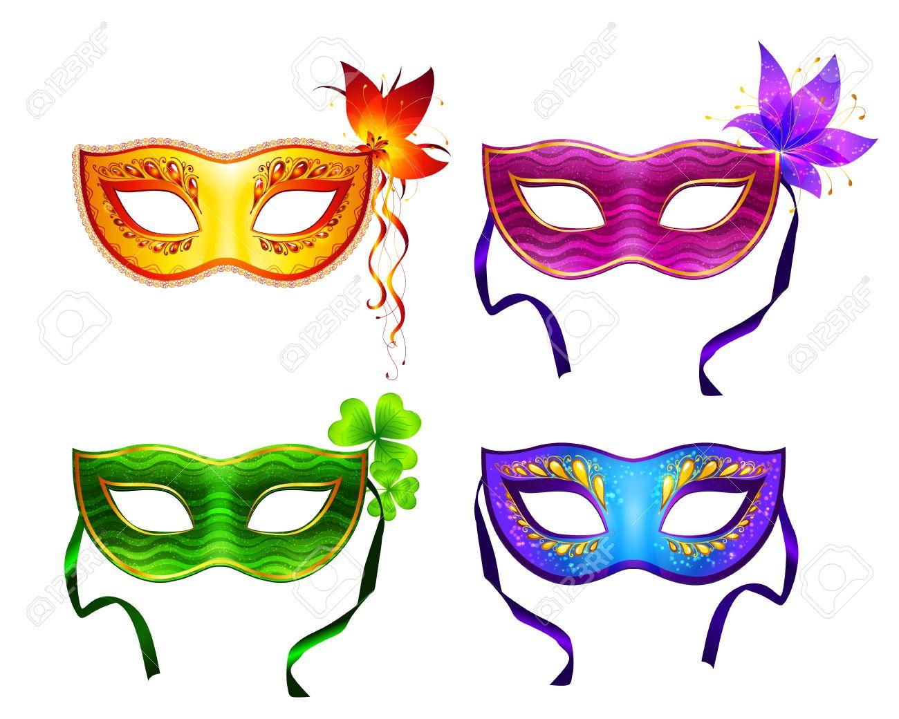 Coloridas máscaras de carnaval de vector.
