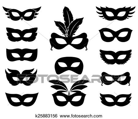 Carnival mask silhouettes Clip Art.