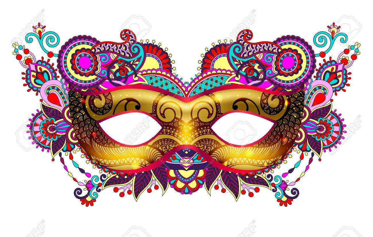 3d silueta máscara de carnaval veneciano de oro con flores ornamentales.