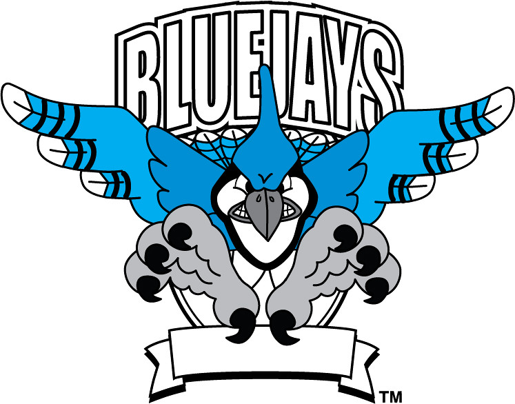 Clip Art Illustration of a Bluejay Mascot.