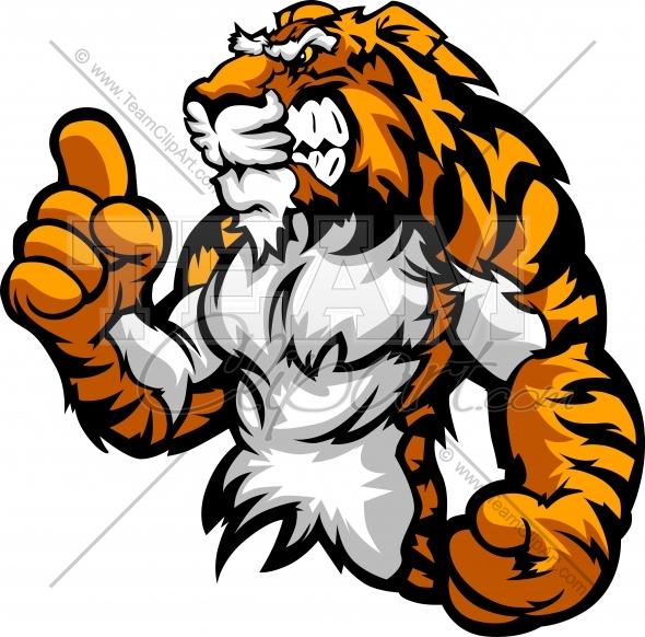 Tiger Mascot Holding up Victory Finger Clipart Image.