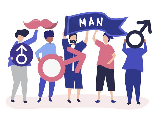 Characters of men holding masculine icons.