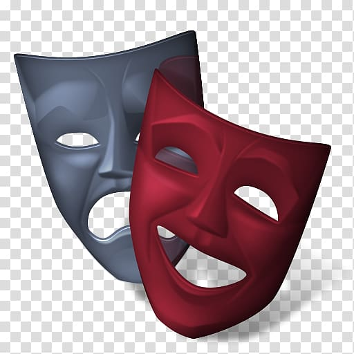 Red and gray masks, Theatre Cinema Icon, mask transparent.