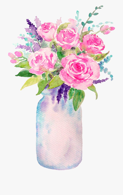 Clip Art Mason Jar With Flowers , Transparent Cartoon, Free.