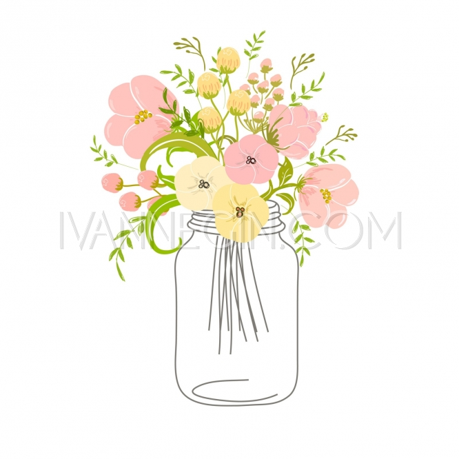 Delicate pink flowers in a glass jar.