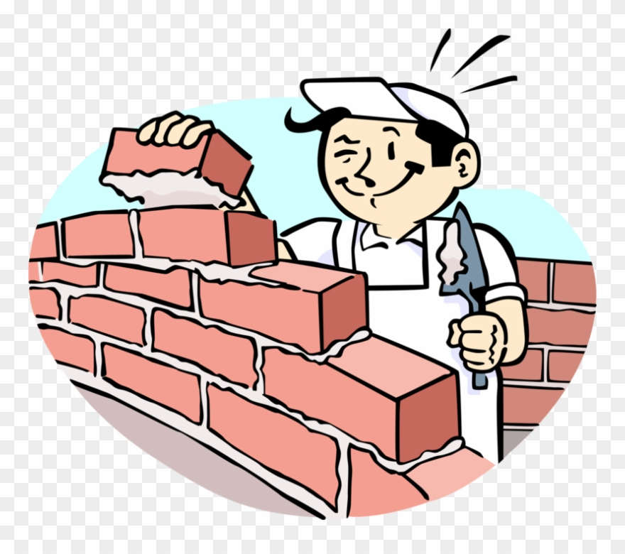 Vector Illustration Of Mason Bricklayer Builds Masonry.