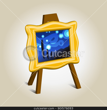 Masterpiece on easel icon stock vector.