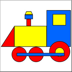 Clip Art: Basic Shapes: Train Color.