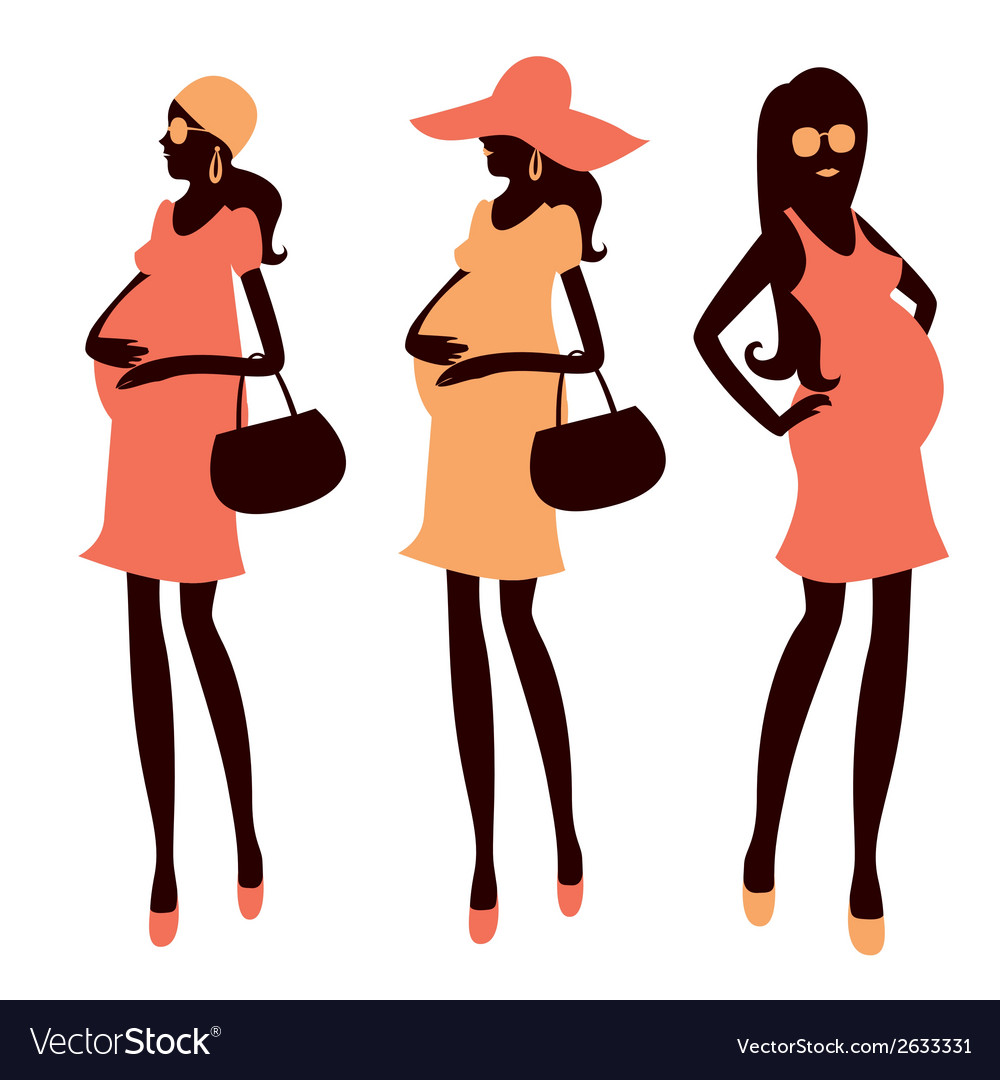 Fashionable pregnancy and maternity clipart.