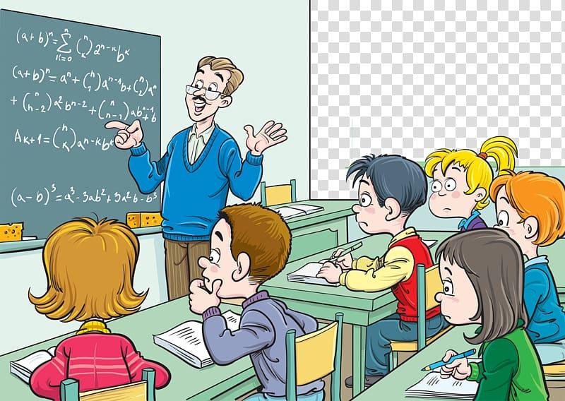 Classroom Mathematics Teacher Blackboard Lesson, Mathematics.