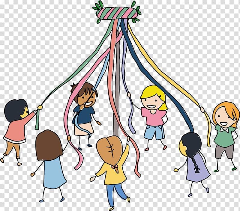 Maypole Child Dance Illustration, Children are transparent.
