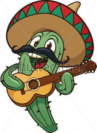 Cute Cartoon Mariachi Cactus Vector Illustration With Simple All IN.