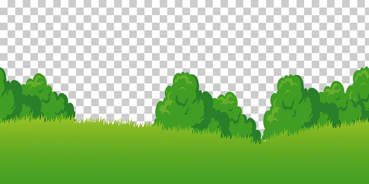 Cartoon Meadow, Green plants, green grass and trees PNG.
