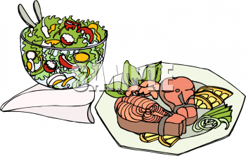 Salmon and Salad Meal Clipart Picture.