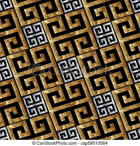 Gold silver greek key meanders seamless pattern. Vector geometri.