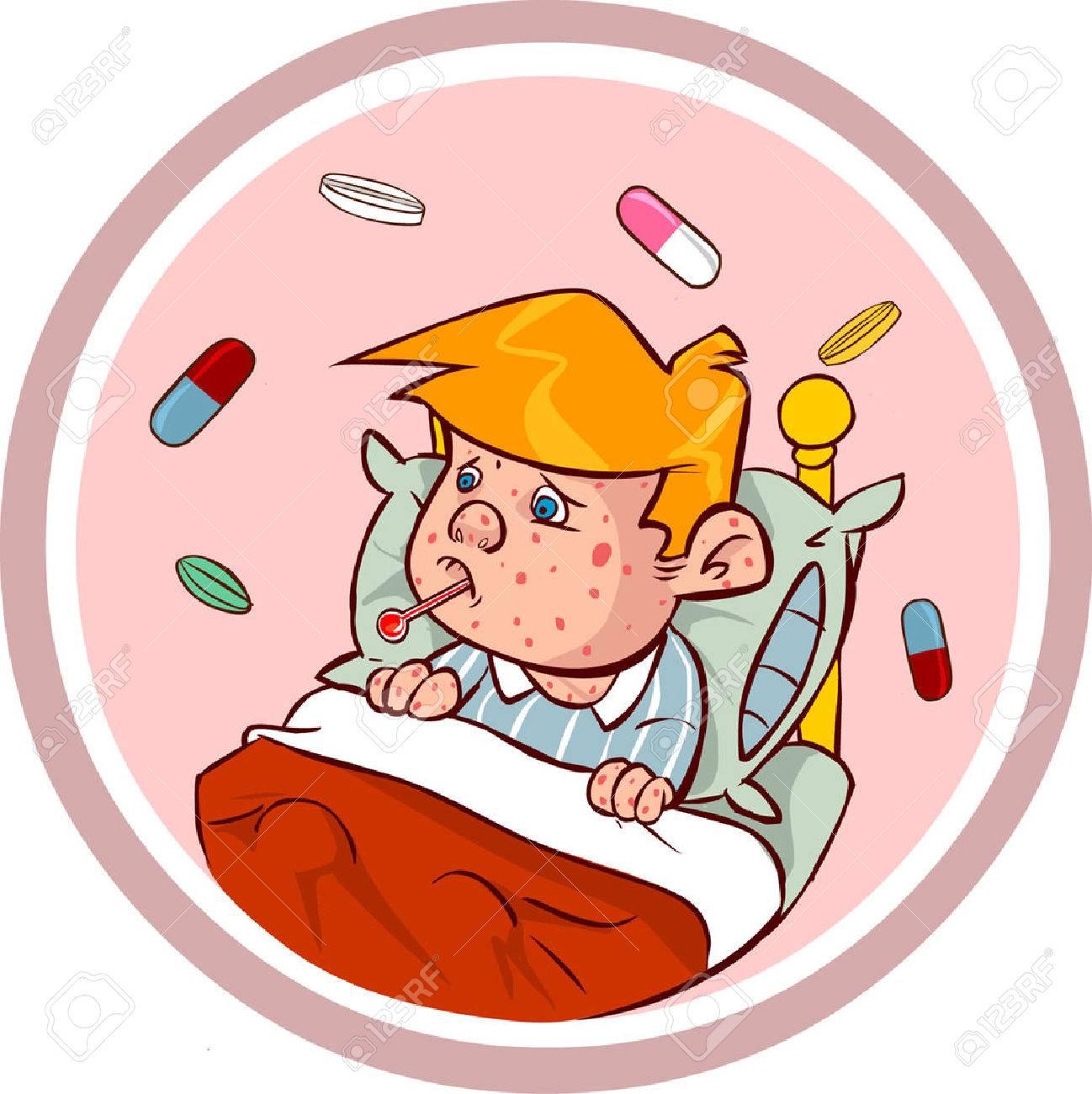 white backround vector illustration of a measles kids.